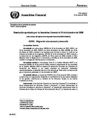 Migración Internacional Y Desarrollo. A/res/63/225