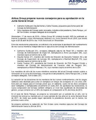 Airbus Group Propone Nuevos Consejeros Para Su Aprobación En La