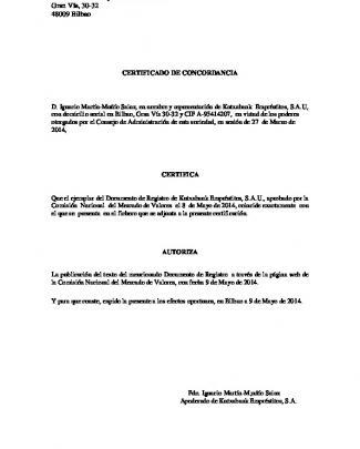 Documento De Registro De Kutxabank Empréstitos, Sau 2014
