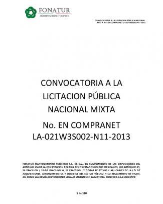 Convocatoria A La Licitacion Pública Nacional Mixta