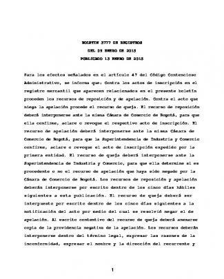 Boletin 3777 De Registros Del 09 Enero De 2015