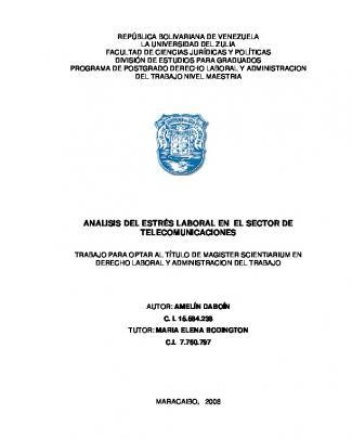 Analisis Del Estrés Laboral En El Sector De Telecomunicaciones