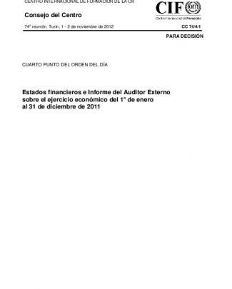 Estados Financieros E Informer Del Auditor Externo Sobre El