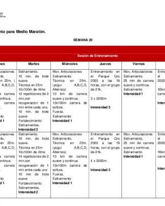 Plan De Entrenamiento Para Medio Maratón.