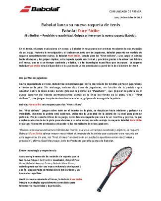 Babolat Lanza Su Nueva Raqueta De Tenis Babolat