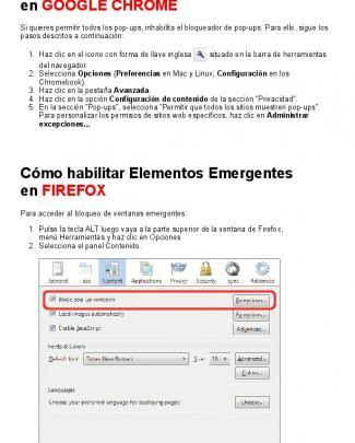 Cómo Habilitar Elementos Emergentes En Google Chrome