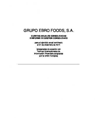 Cuentas Anuales Consolidadas De Ebro Foods, S.a.