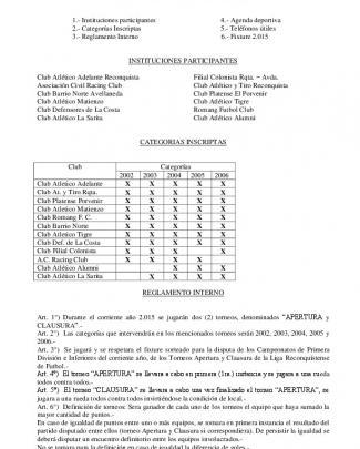 Reglamento Futbol Infantil 2015