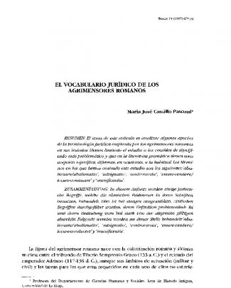 El Vocabulario Jurídico De Los Agrimensores Romanos