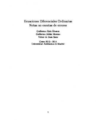 Ecuaciones Diferenciales Ordinarias Notas No Exentas De Errores