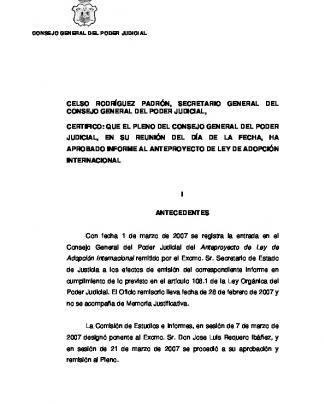 Informe Al Anteproyecto De Ley De Adopción