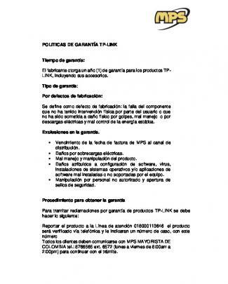 Politicas De Garantía Tp-link Tiempo De Garantía
