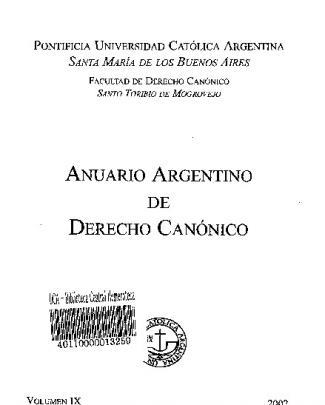 Anuario Argentino De Derecho Canónico, Vol. Ix