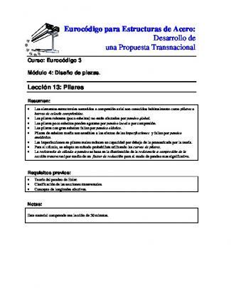 Eurocódigo Para Estructuras De Acero: Desarrollo De Una Propuesta