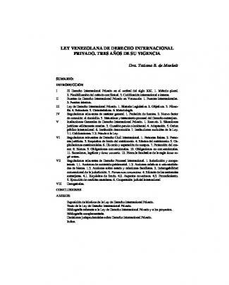 Ley Venezolana De Derecho Internacional