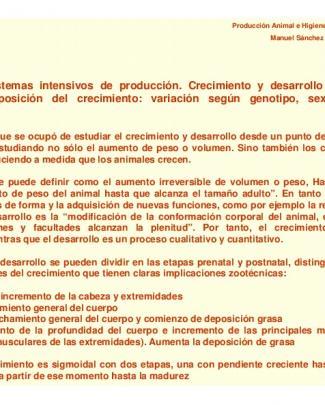 Tema 15.- Sistemas Intensivos De Producción. Crecimiento Y