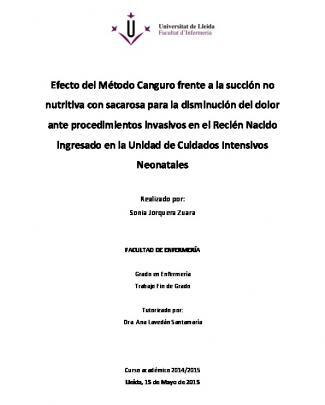 Efecto Del Método Canguro Frente A La Succión No Nutritiva Con