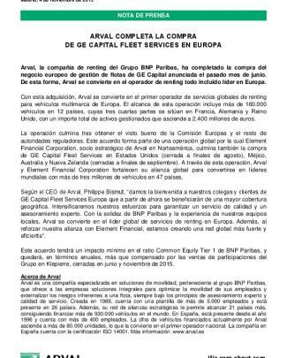 Arval Completa La Compra De Ge Capital Fleet
