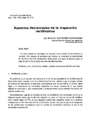 Aspectos Decisíonales De La Inspección Rectificativa