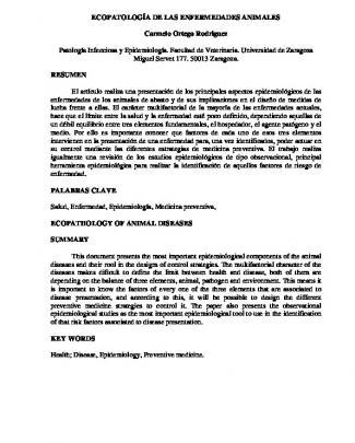 Ecopatología De Las Enfermedades Animales