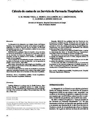 Cálculo De Costes De Un Servicio De Farmacia Hospitalaria
