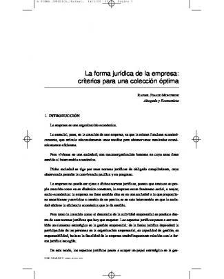 La Forma Jurídica De La Empresa: Criterios Para Una Colección óptima