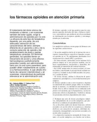 Los Fármacos Opioides En Atención Primaria