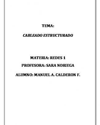 Tema: Cableado Estructurado Materia: Redes 1