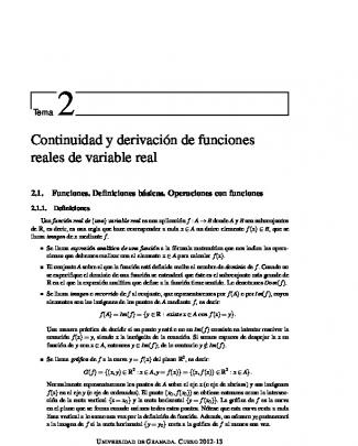 Continuidad Y Derivación De Funciones Reales De Variable Real