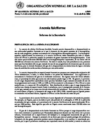 Anemia Falciforme, Informe De La Secretaría