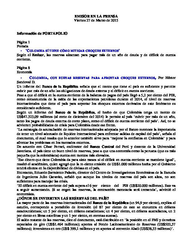 Investigaciones Bancolombia Inveconomicas Informes Pdf