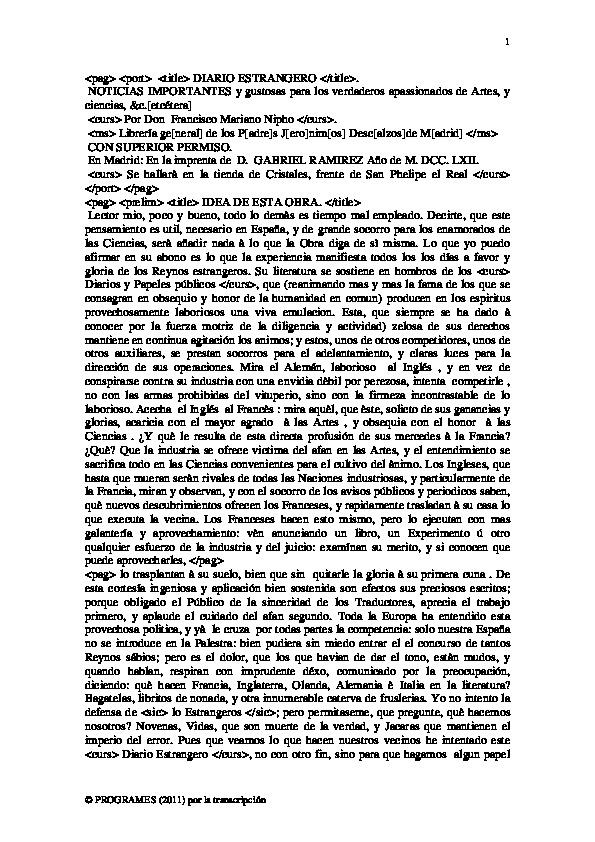Nifo, Diario Estrangero - Universidad Complutense De