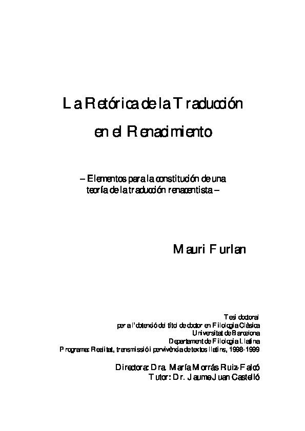 La Retórica De La Traducción En El Renacimiento Id